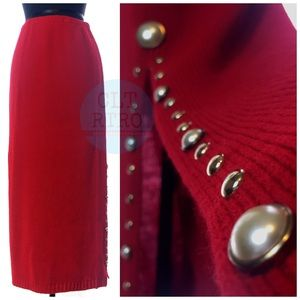 80s vtg Bedazzled Knit Maxi Skirt